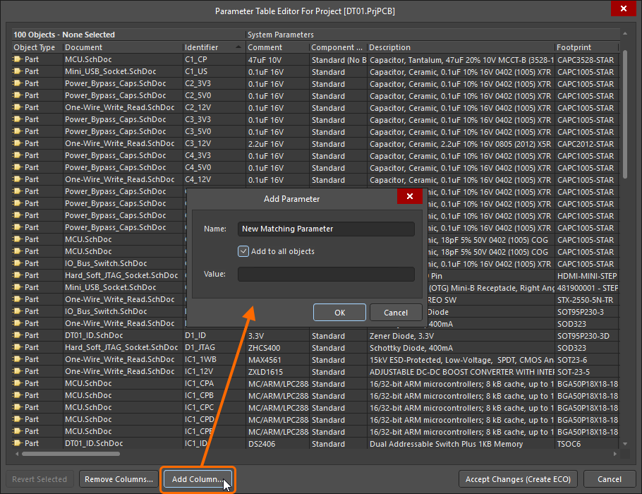 Parameter Table Editor dialog, being used to add a new parameter to all components in the design