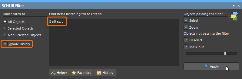 Schematic library editor Filter panel, being used to select all parts in the library