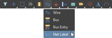 Place a Net Label, using the Active Bar
