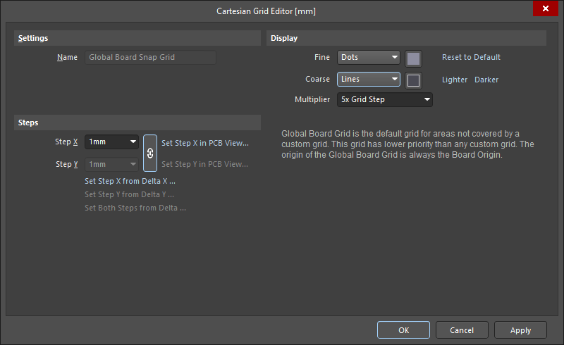 Cartesian Grid Editor dialog