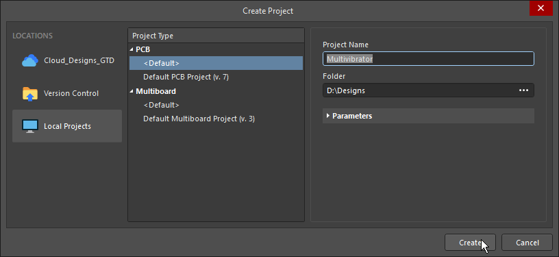 Create Project dialog