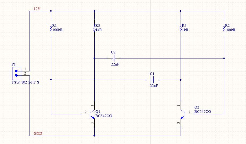 Multivibrator schematic, complete