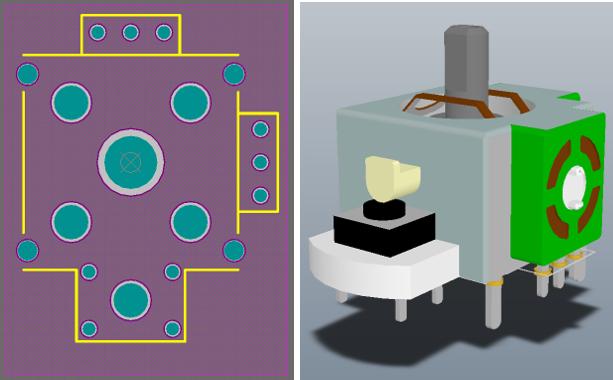 2D- и 3D-вид посадочного места компонента (джойстик). На 3D-виде отображена импортированная STEP-модель компонента. Обратите внимание, что контактные площадки и шелкография компонента отображаются под STEP-моделью.