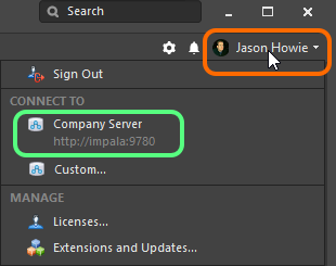 Signing in to your NEXUS Server instance from within Altium  NEXUS, when that server is already known.