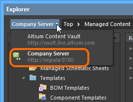 Browsing the Active Server through the Explorer panel in  Altium NEXUS.