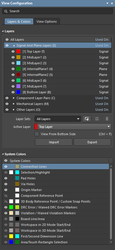 Use the View Configuration panel to set up the visibility and color of all layers in the workspace