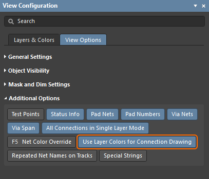 Configure the connection lines to display in the layer colors
