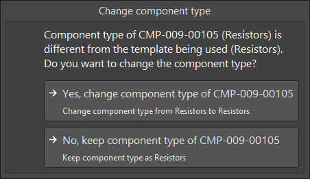 The Change component type dialog