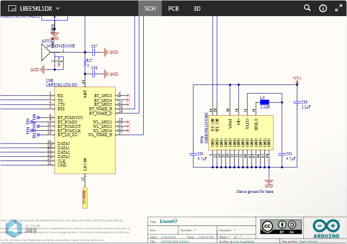 Example showing Altium 365 Viewer embedded on the Arduino website for their Portenta H7 Board. Shown here is an example schematic. Hover the mouse over the image to see the view of the PCB in 3D.