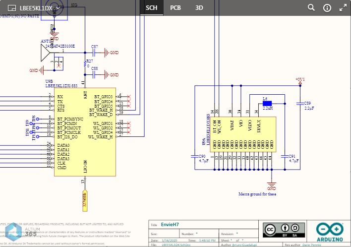 Пример, где показан Altium 365 Viewer, встроенный на веб-сайт Arduino для платы Portenta H7 Board. Здесь показана схема. Наведите курсор мыши на изображение, чтобы увидеть плату в 3D.