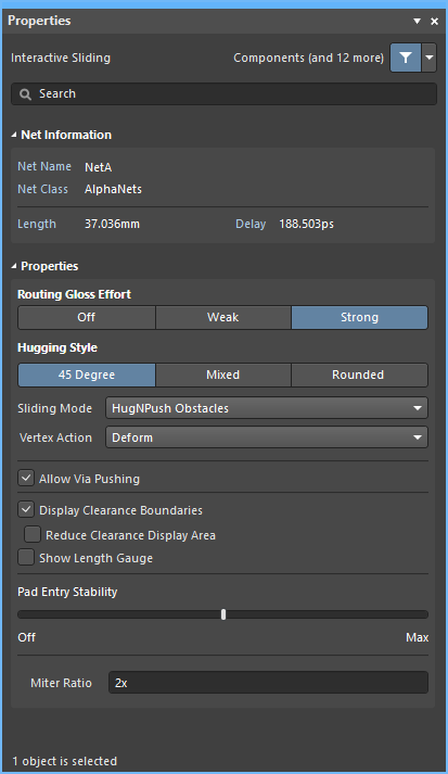 Interactive sliding mode of the Properties panel
