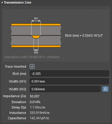 Click the Trace Inverted checkbox to toggle the Copper Orientation from Above to Below.