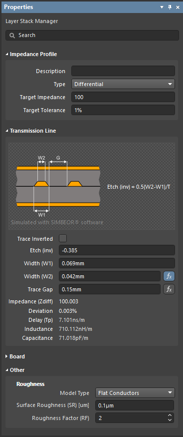 The Simbeor impedance calculator calculates the width(s) required to achieve the specified impedance.