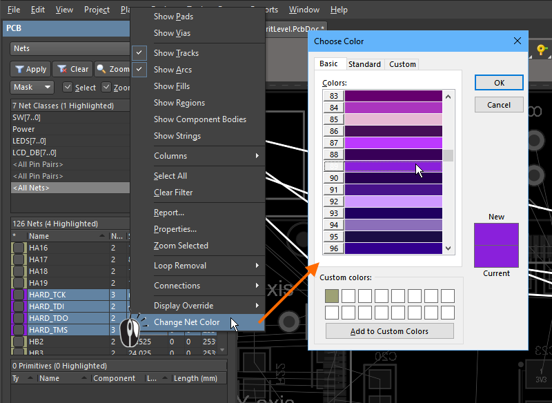 In the PCB panel, right-click on selected nets to change the net color.