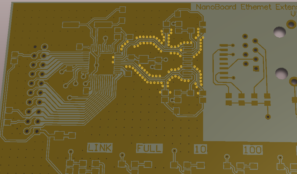 Use the Via Stitching and Via Shielding commands to stitch copper on different layers, and to add a wall of shielding vias adjacent to a route path (hover to highlight shielding vias).
