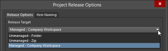 Switch release target - where the generated data is to be sent - as part of the release options for the project.
