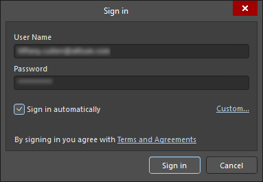 Two variations of the Sign In dialog (the first image is usedto sign in to your Altium account; the second image is usedto sign into a server)