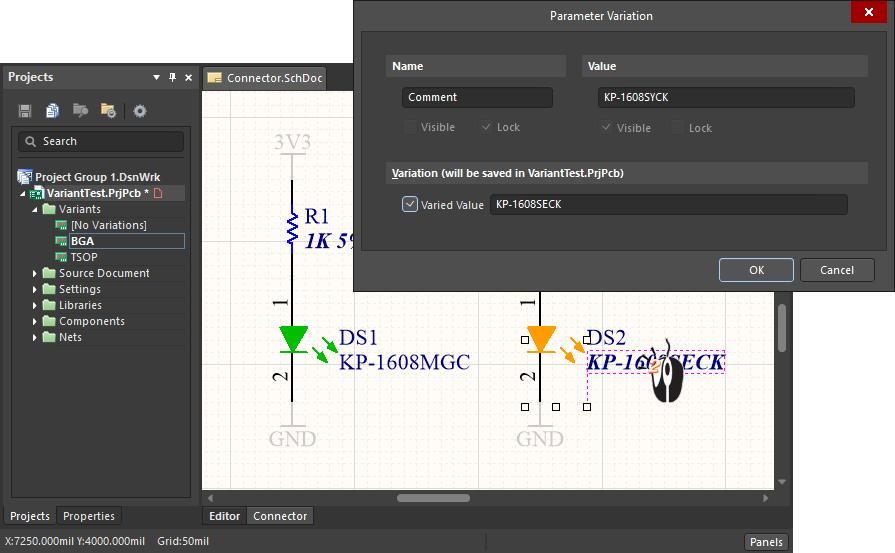 Редактирование вариаций параметров в диалоговом окне Parameter Variation
