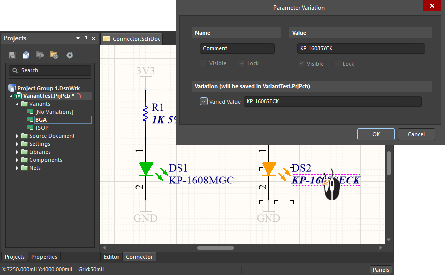 Editing parameter variations in the Parameter Variation dialog