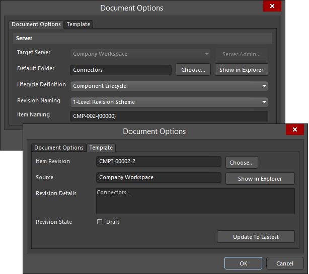 The Document Options and Template tabs of the Document Options dialog