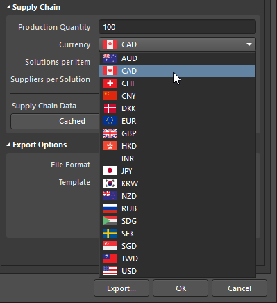 Choose from a list of supported currencies when outputting pricing data in a Bill of Materials.