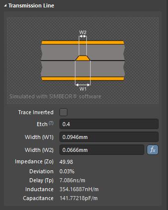 Включите опцию Trace Inverted для переключения ориентации меди с Above на Below.