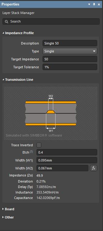 При прямом расчете для целевого импеданса 50Ω расчетная ширина (W1) составляет 94,6 мкм. На изображении справа показан обратный расчет, при котором задана ширина (W1) 95 мкм.
