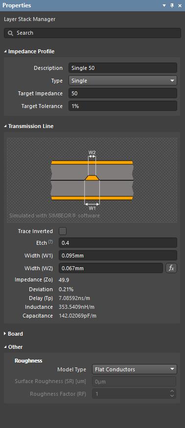 Калькулятор импеданса Simbeor рассчитывает ширину, необходимую для соответствия определенному импедансу.