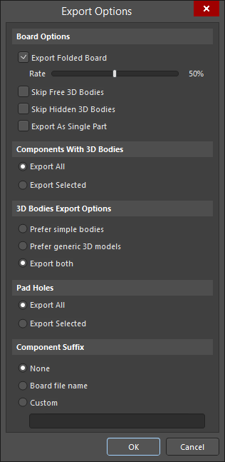 The Export Options dialog is used to configure what data is exported into the created STEP file