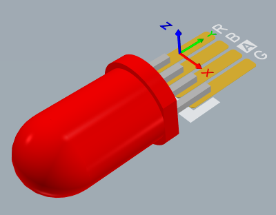 Physical LED component imported from an MCAD editor, using the STEP file format