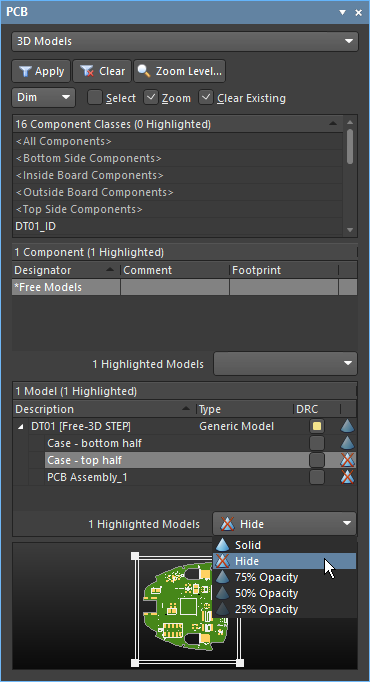 3D Models mode of the PCB editor panel, configuring the display of an imported 3D enclosure
