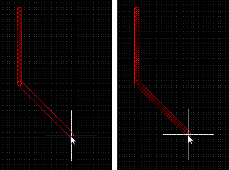 Track placement with Look-Ahead on (first image) and off (second image). The next mouse click will place the hatched track segments.