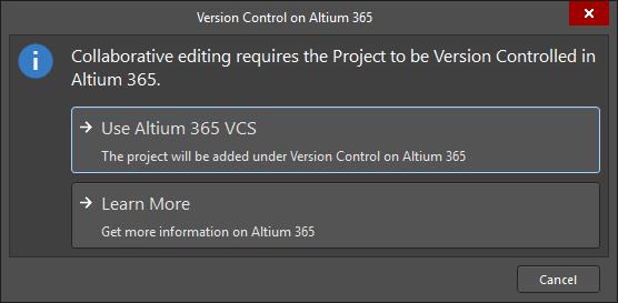 The Version Control on Altium 365 dialog