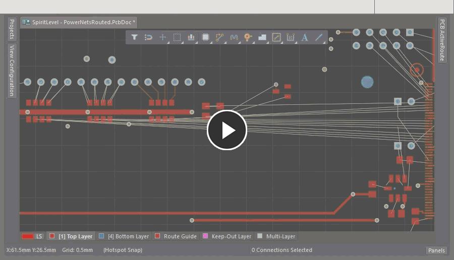 Видео с демонстрацией размещения объекта Route Guide и интерактивным изменением его ширины.