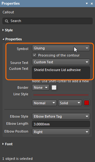 Properties panel for a Callout, highlighting where special symbols are selected