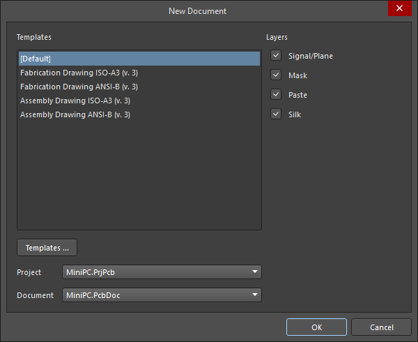 New Document dialog, create a new Draftsman document