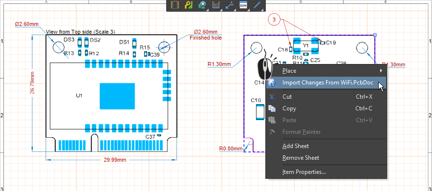 Right-click anywhere on the document to import changes from the PCB document