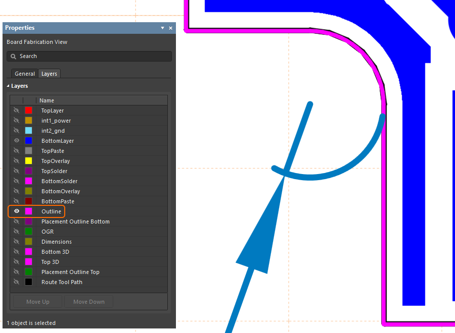 Example of how to use an outline on a mechanical layer to dimension the curve in the board outline