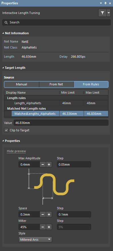 Interactive Length Tuning mode of the Properties panel, use this to configure the tuning accordion's shape and dimensions