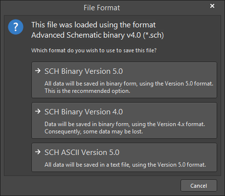 The File Format dialog