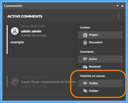 Panel Visible and Hidden options