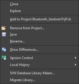 Example right-click context menu for a document (Schematic Library in this case).