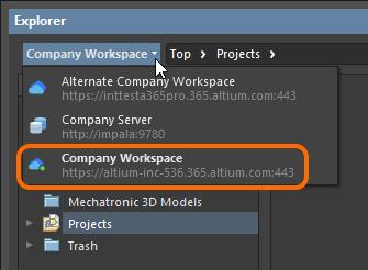 Browsing the Active Server through the Explorer panel in Altium Designer.