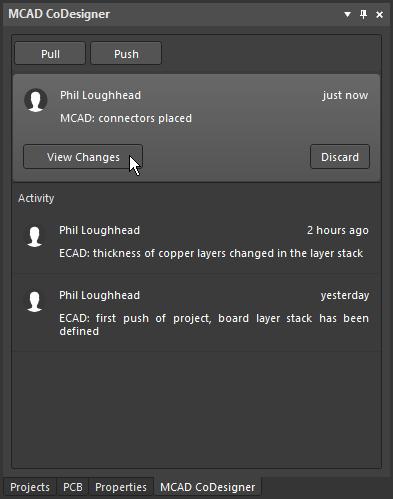 Изменения платы и компонентов принимаются в MCAD с помощью панели MCAD CoDesigner
