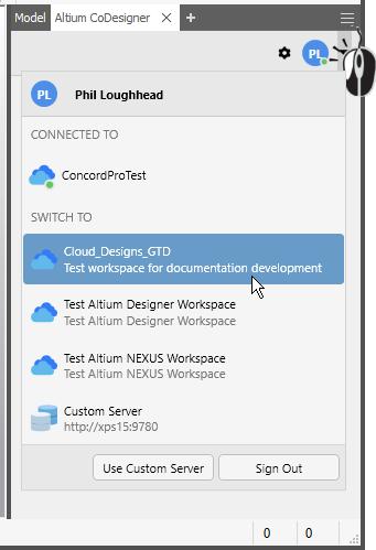 Меню для выбора активного Workspace для переключения на пользовательский сервер или для выхода
