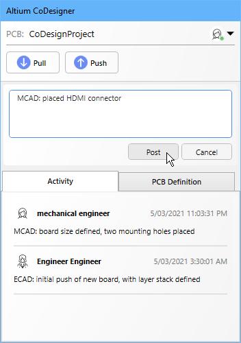 Изменения платы и компонентов передаются в ECAD с помощью панели Altium CoDesigner