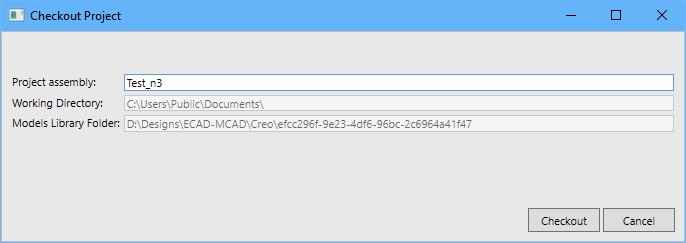 Используйте диалоговое окно Checkout Project, чтобы переименовать сборку и подтвердить расположения для рабочей директории и моделей