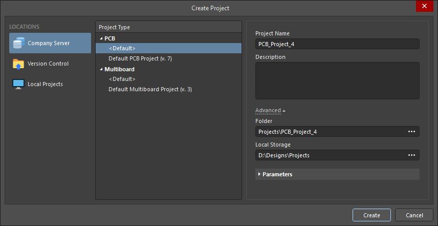 Диалоговое окно Create Project используется для создания управляемого проекта на сервере управляемых данных