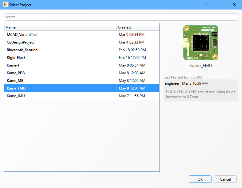 Если плата не была открыта в MCAD-системе, нажмите кнопку Pull Board from Server