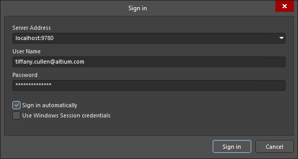 A variation of the Sign In dialog that allows you to sign into a on-site server.